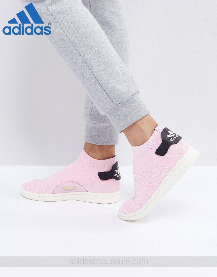 Adidas Originals Stan Smith Primeknit chaussettes Rose % {Promo Basket Adidas} - Adidas Originals Stan Smith Primeknit chaussettes Rose % {Promo Basket Adidas}-01-0